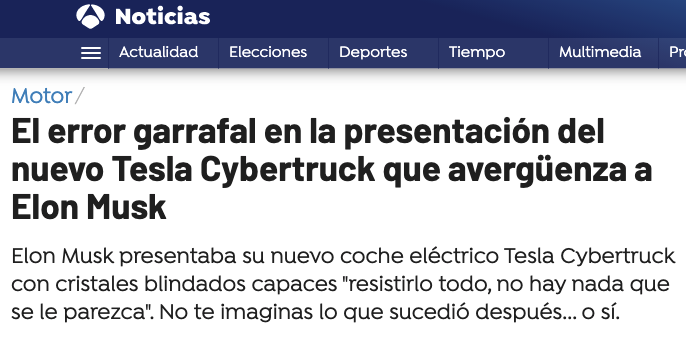 noticia fail cristal cybertruck